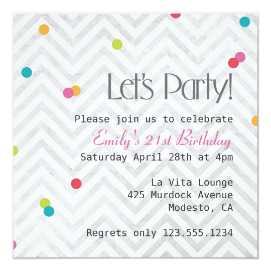 Let's Party Chevron and Dot Invite