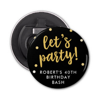 Let's Party Confetti, Black Party Favor Bottle Opener