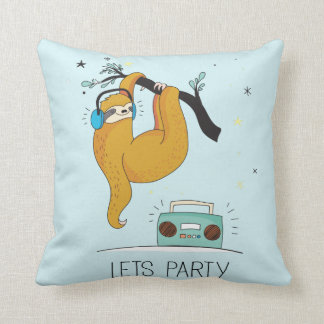 Let's Party Cute Sloth Custom Throw Pillow