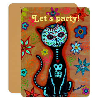 Let's Party DAY OF THE DEAD CAT EL GATO INVITATION
