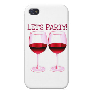 LET'S PARTY! FUN PARTY RED WINE PRINT CASES FOR iPhone 4