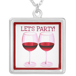 LET'S PARTY! FUN PARTY RED WINE PRINT SQUARE PENDANT NECKLACE