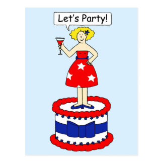 Let's party July 4th Postcard