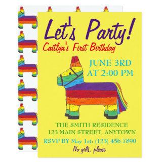 Let's Party Rainbow Donkey Birthday Fiesta Piñata Card