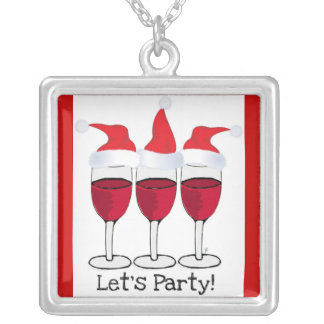 """""""LET'S PARTY"""" RED WINE GLASSES WITH SANTA HATS PERSONALIZED NECKLACE"""