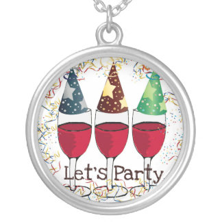 LET'S PARTY RED WINE PARTY HATS PRINT ROUND PENDANT NECKLACE
