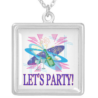 Lets Party Square Pendant Necklace