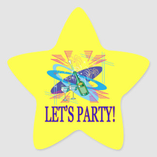 Lets Party Star Sticker