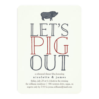 Let's Pig Out | Rehearsal Dinner BBQ Invitation