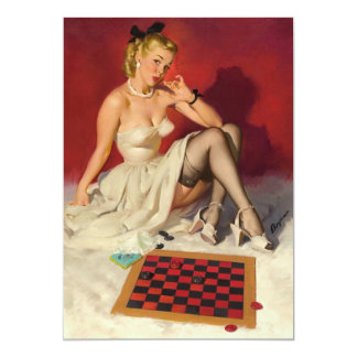 Lets Play a Game - Retro Pinup Girl 13 Cm X 18 Cm Invitation Card