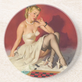 Lets Play a Game - Retro Pinup Girl Coaster