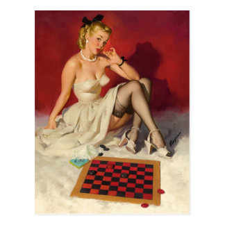 Lets Play a Game - Retro Pinup Girl Postcard