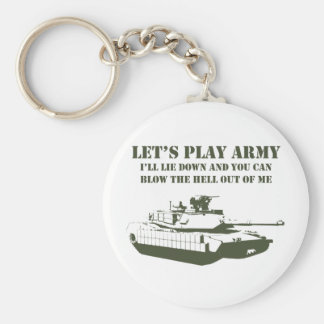 Let's Play Army Basic Round Button Key Ring