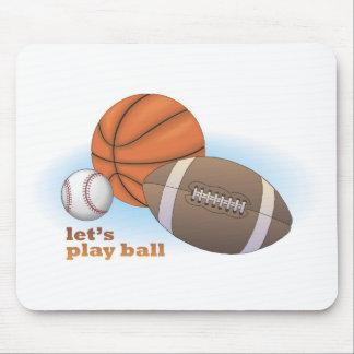 Let's play ball: baseball, basketball & football mouse pad