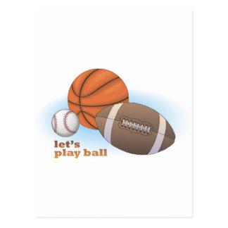 Let's play ball: baseball, basketball & football postcard