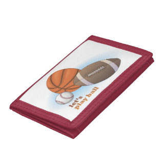 Let's play ball: baseball, basketball & football tri-fold wallets