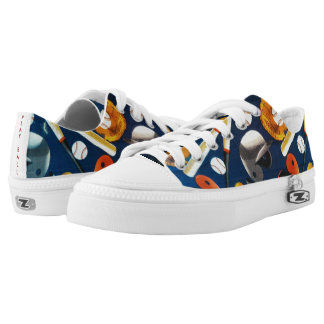 """""""Let's Play Ball!"""" Zipz Low Top Shoes Printed Shoes"""