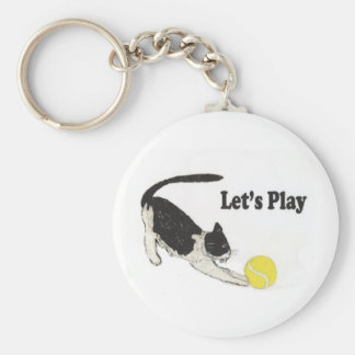 Let's Play Basic Round Button Key Ring