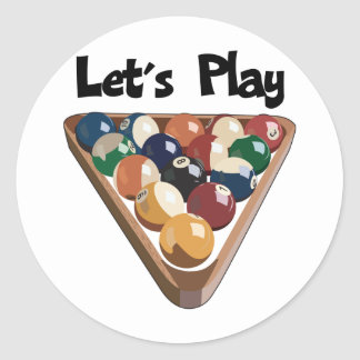 Let's Play Billiards Classic Round Sticker