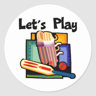 Let's Play Cricket Classic Round Sticker