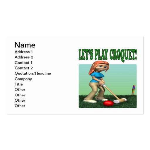 Lets Play Croquet 2 Business Card Template