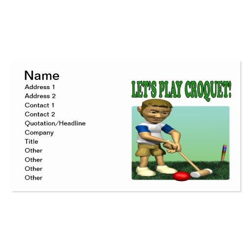 Lets Play Croquet Business Card Templates