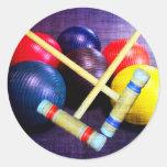 Let's Play Croquet Grunge Style Round Sticker