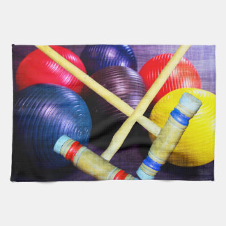 Let's Play Croquet Grunge Style Tea Towel