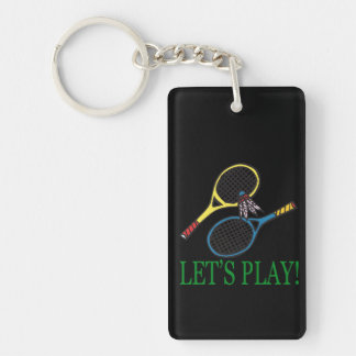 Lets Play Double-Sided Rectangular Acrylic Key Ring