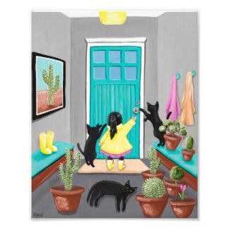 Let's Play Outside - Girl and Cats Photo Print