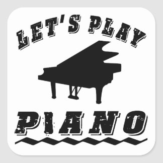 Let's Play Piano Square Sticker