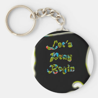 Lets Pray Begin black Design  for everyone Basic Round Button Key Ring