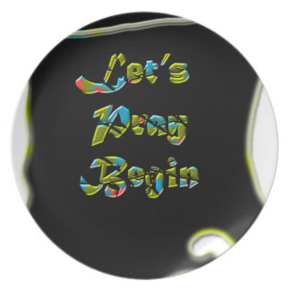Lets Pray Begin black Design  for everyone Party Plates