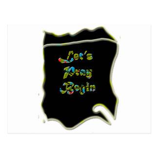 Lets Pray Begin black Design  for everyone Postcard