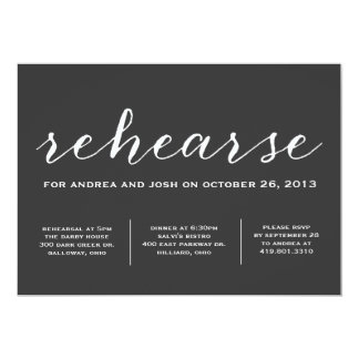 Let's Rehearse Calligraphy Invitation