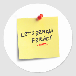 Let's remain friends round sticker