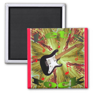 Let's Rock magnet with fractal background