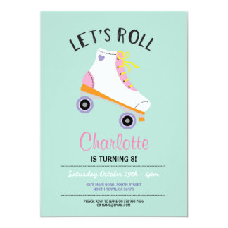 Let's Roll RollerSkate Girls Birthday Party Invite