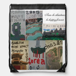 Lets shop/christian asian/missionary bag drawstring backpacks