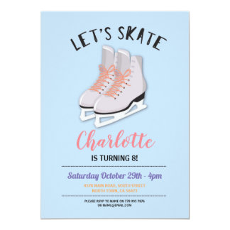 Let's Skate Girls Blue Ice-Skating Birthday Party Card