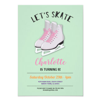 Let's Skate Girls Mint Ice-Skating Birthday Party Card