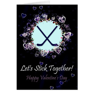 Let's Stick Together Hockey Valentine's Day Card