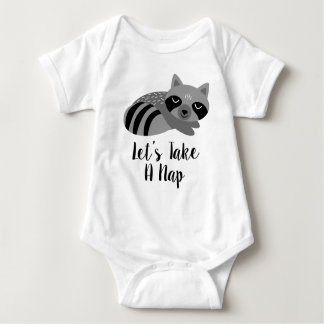 Let's Take A Nap Sleeping Raccoon Baby Bodysuit