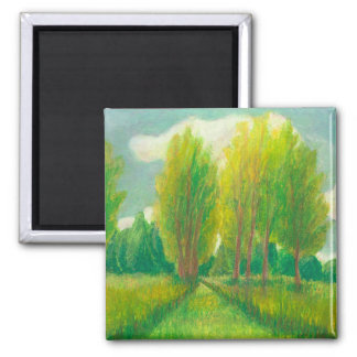 Let's Take a Walk - beautiful day original drawing Square Magnet