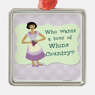 Lets Tour Whine Country! Silver-Colored Square Decoration