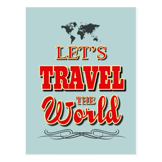 Let's travel the world postcard