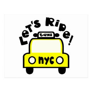 Let'sRide! With NYC Retro Taxi Cab Postcard