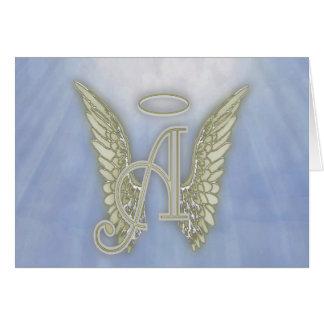 Letter A Angel Monogram Card