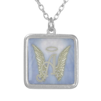 Letter A Angel Monogram Silver Plated Necklace