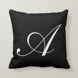 Letter A Black Monogram Pillow